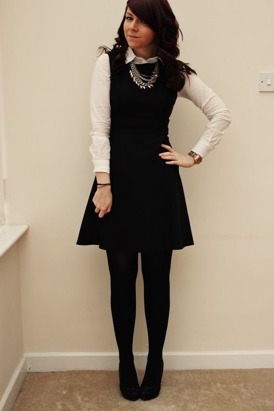 cute work wear that isn't old looking. button up under sleeveless dress with tights #workappropriate #businesscasual