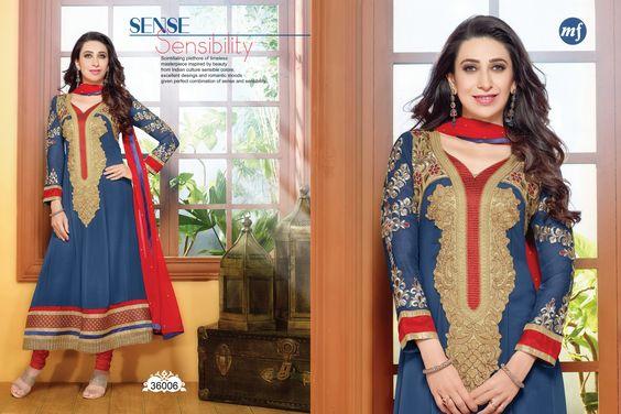 Blue Georgette Anarkali Partywear Salwar Kameez
