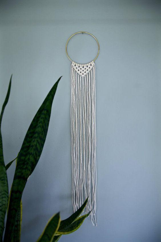 macram tenture murale coton blanc naturel corde de 35. Black Bedroom Furniture Sets. Home Design Ideas