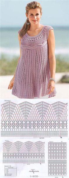 Chorrilho de ideias: Tunica decote redondo rosa velho em crochet com es...