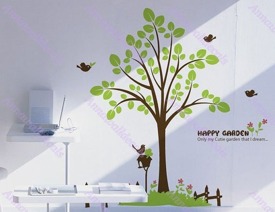 75 Happy graden decal :wall decals, vinyl wall decal, wall stickers,nursery wall stickers,tree wall decals,tree and birds wall art,