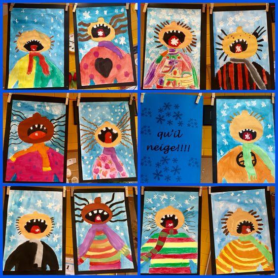 schneeflocken fangen wasserfarben kunstunterricht malen und basteln in der grundschule. Black Bedroom Furniture Sets. Home Design Ideas