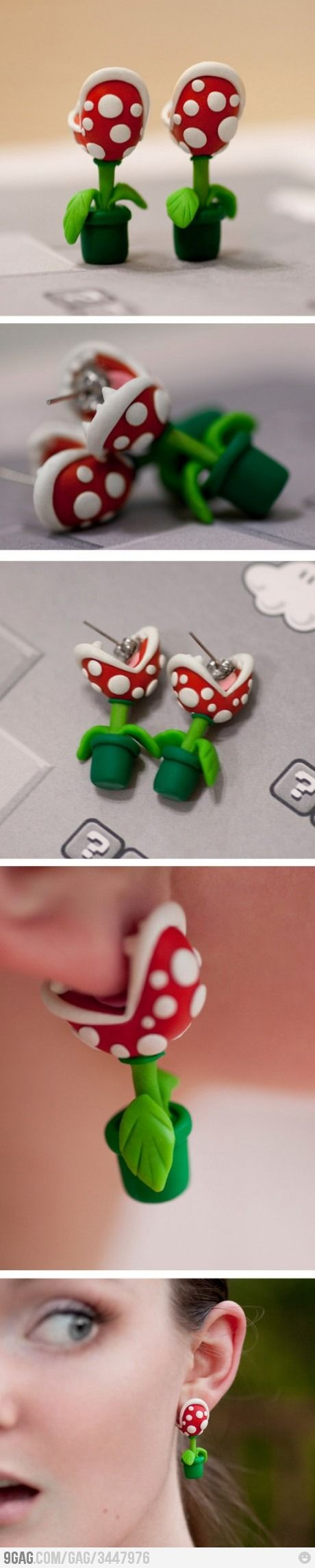 Piranha plant earrings - Love these!