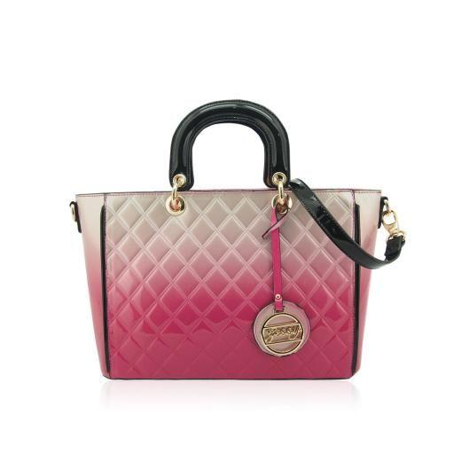 Handbag - Fuchsia/Black Quilted Patent - £48.00 - Handbag Fuchsiablack Quilted Patent - Present Time - Bathgate