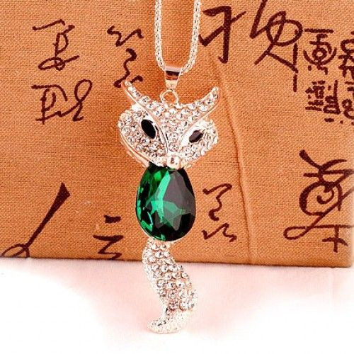 Cute Fashion Crystal Fox Rhinestone Sweater Necklace for only $9.90 ,cheap Fashion Necklaces - Jewelry&Accessories online shopping,Cute Fashion Crystal Fox Rhinestone Sweater Necklace is very sweet and match any sweater perfectly! It is a perfect gift for her.