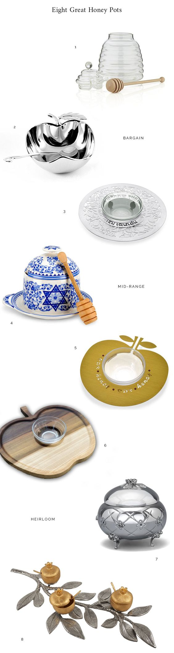 Eight Great Honey Pots for Rosh Hashanah   Chai & Home // we've got the first honey pot but another couldn't hurt!