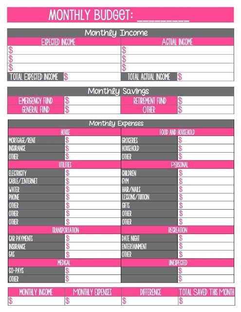 Monthly Expense Calendar : Printable monthly household budget sheet free