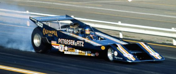 1973, Herm Petersen's Can Am-inspired dragster built by Woody Gilmore