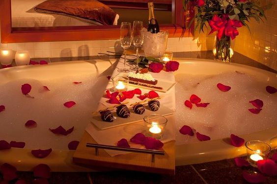 Petals for Every Occasion - Romantic bath for two |  Rose petals available @ www.flyboynaturals.com