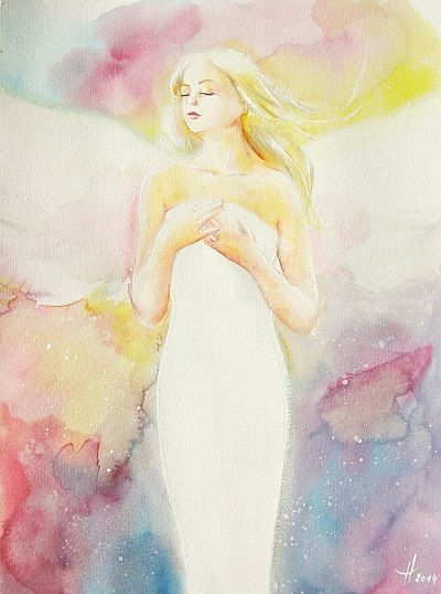 """Original angel painting """"feeling"""" , abstract spiritual mystic art painted with watercolors, modern contemporary artwork,colorful, gift"""