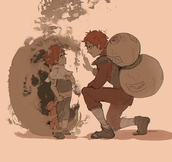 砂で子供を包む我愛羅