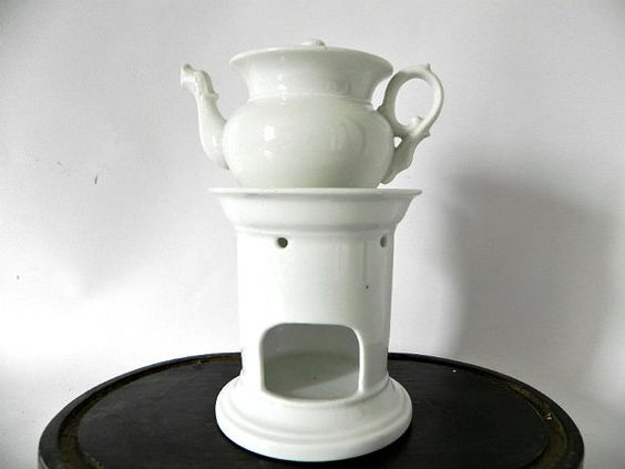 Tea Set for One, White Stoneware Tea Pot, Tea Cup, and Tea Pot and Warmer