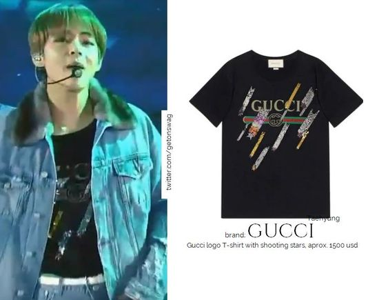 "Beyond The Style ✼ Alex ✼ on Twitter: ""GUCCI - Gucci logo T-shirt with shooting stars, approx. 1500 usd  TAEHYUNG #BTS 181106 MGA  #TAEHYUNG #V #태형 #방탄소년단… """