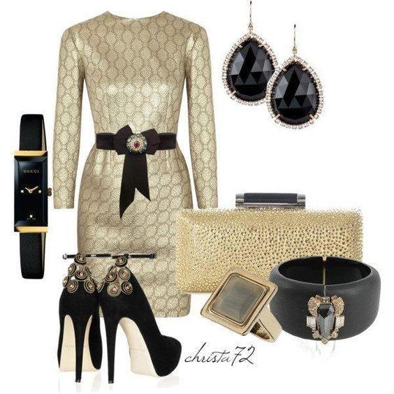 Gold elegant cocktail dress with black belt ... loving this!!!