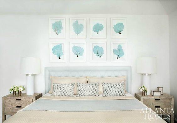 beach coastal nautical style bedroom in light blue cream
