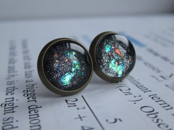 Singularity - Earring studs - science jewelry - science earrings - galaxy jewelry - physics earrings - fake plugs - plug earrings - nebula on Etsy, $11.00
