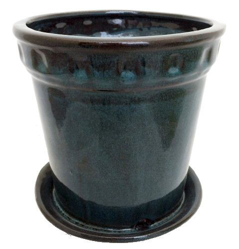 Decorative Cylinder Glazed Ceramic Pot And Saucer Tropical Blue 6 7 8 X 7 Hirt S Gardens Ceramic Pot