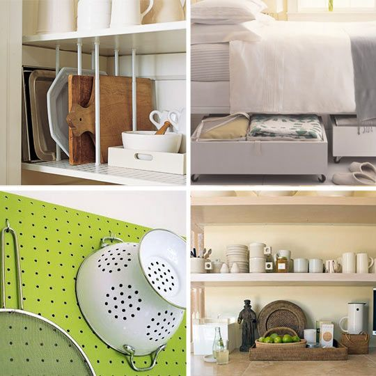 space savers• Martha Stewart, of course, has tons of space saving and maximizing tips that we've enjoyed. Magnetic strips in the medicine cabinet for scissors, bobby pins and other metal objects can transform your tiny bathroom through organization. Attaching wheels to a wooden box or drawer can make for delightfully easy extra storage under a bed. In the kitchen, use tension curtain rods for tray and cutting board pantry and cabinet dividers.