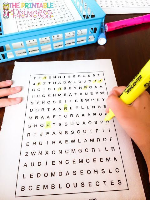 Word search puzzles make quick and easy alphabet centers! Students pick a card and find the letter on the page. (Cards are a FREE download on her blog)