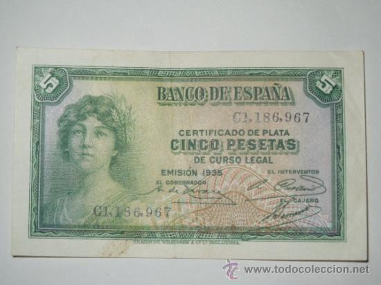 billete banco de españa 5 cinco pesetas 1935 serie c ebc