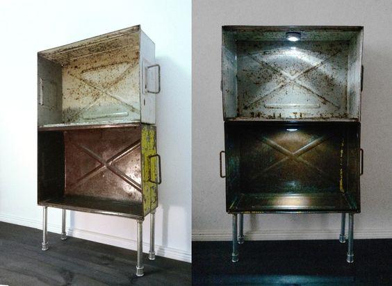 Loft Regal, Eisenregal aus alten Eisenkisten von PRACHTWORKS auf DaWanda.com
