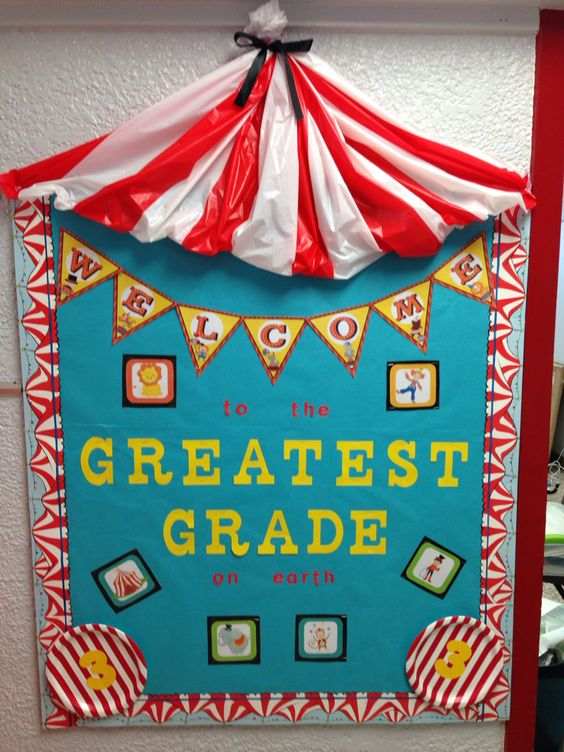 Circus themed bulletin board                                                                                                                                                     More