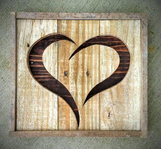 handmade reclaimed rustic pallet wood heart home decor