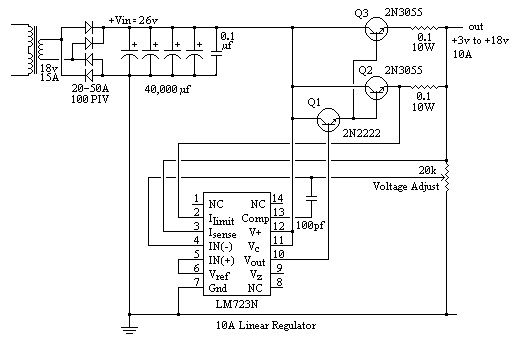 Variable Power Supply 10a Lm723 Power Supply Power Supply Circuit Power