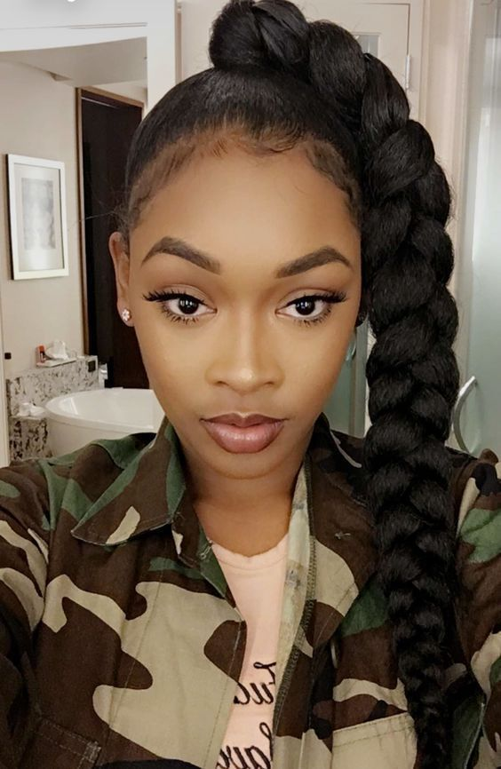 This Style Is Jumbo Braid Ponytail It Is Made By 24inch Black Jumbo Braid You Can Click The Li Natural Hair Styles Weave Hairstyles Braided Braided Hairstyles