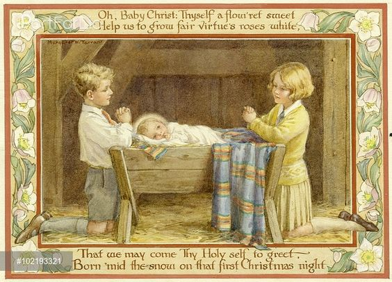 Margaret Tarrant - 'The Flower of Christmas' - two children kneeling by crib with border of verse and Christmas roses. Christmas card.