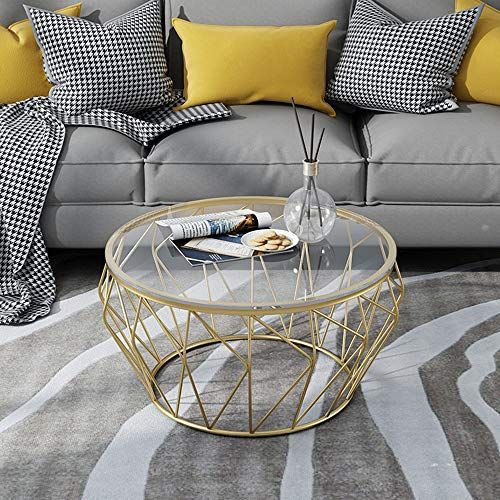 Goquik Folding Tables Wrought Iron Round Tempered Glass Side Table