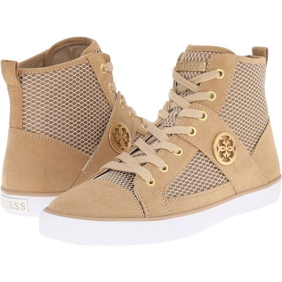 GUESS Mamari Women's Shoes (€56) ❤ liked on Polyvore featuring shoes, neutral, guess footwear, guess shoes, laced shoes, lace up shoes and rubber sole shoes