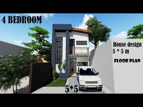 5 M 5 M Tiny House Small House 2 Story Plan Modern House Floor Plan Free Plan And 3d D Small House Layout Tiny House Floor Plans Small House Floor Plans