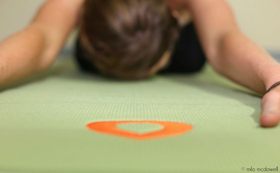 Child's Pose on our Aloe/Aspen Leaf Embroidered Yoga Mat nicolecarlinyoga.com Photos by: Milo McDowell Aspen Yoga Mats