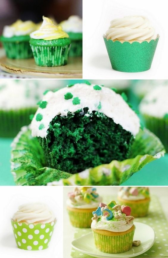 5 St. Patrick's Day Cupcake Ideas, Green Velvet Cupcakes, Lucky Charms Cupcakes, Holiday Dessert Ideas
