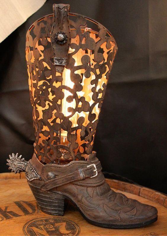 Cowboy Boot Lamp Western Home Decor Western Decor Cowboy Decorations
