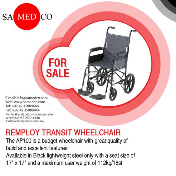 """This Wheel Chair is available in Black lightweight steel only with a seat size of 17"""" x 17"""" and a maximum user weight of 112kg/18st. The AP100 features folding back and broad comfortable footrests with wipe clean vinyl upholstery probably the most popular fleet wheelchair in the UK today for value & durability."""