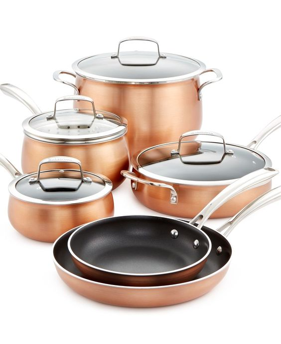 Get your kitchen off to a stylish start with the gleaming copper-tone finish of this 11-pc. set from Belgique. The cookware gives you the performance and easy care you need from morning to night. | Al