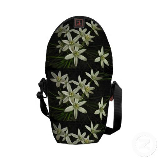 Star of Bethlehem Mini Messenger Bag ~   This fine art photography mini messenger bag features the lovely spring perennial garden plant known as Star of Bethlehem (Ornithogalum umbellatum). Each flower has six white petals and a yellow center. The flowers are set on a dark, almost black background.