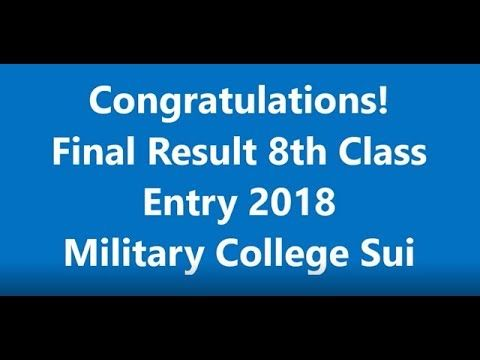 Final Result 8th Class Entry 2018 Military College Sui Balochistan