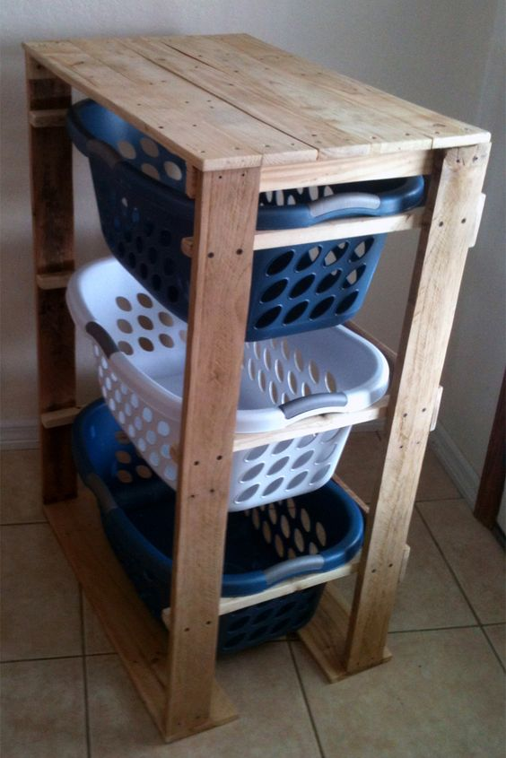 Pallirondack Laundry Basket Dresser Made With Pallets