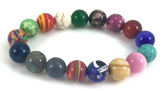 Natural Gemstone Round Bead Stretch Bracelet-10mm-Each One Unique