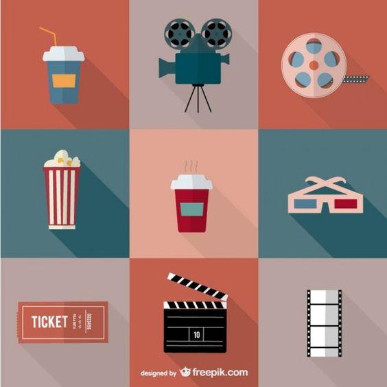 Icônes film cinéma de vecteur - free