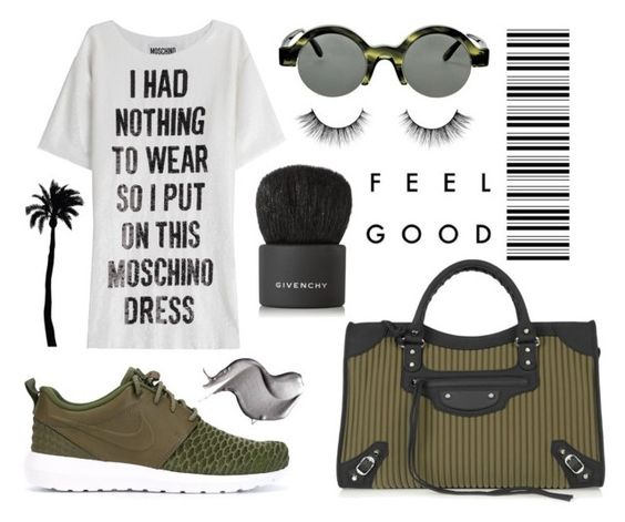 """""""Balenciaga city bag, Nike Roshe sneakers, Moschino t-shirt dress and Givenchy bronzer brush"""" by anastassiablog ❤ liked on Polyvore featuring NIKE, Balenciaga, Moschino, Dot & Bo and Givenchy"""