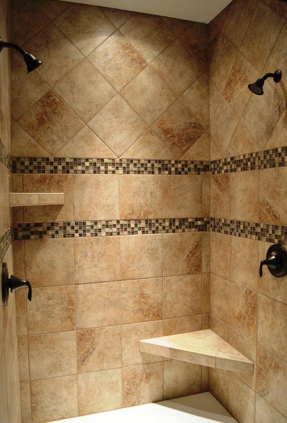 Dual head custom ceramic tile shower with Oil Rubbed Bronze fixtures. Dual head custom ceramic tile shower with Oil Rubbed Bronze