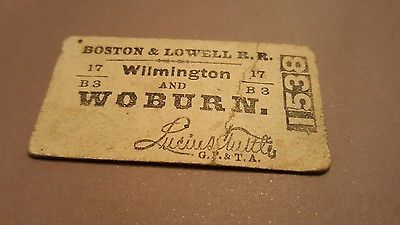 Boston & Lowell Wilmington & Woburn Railroad 1889 RR Ticket Stub Antique