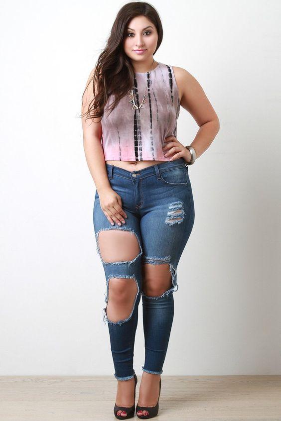 Plus Size Distress Triple Hole Skinny Jeans – Style Lavish