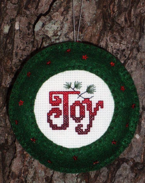 "Cross Stitched Christmas ""Joy"" Ornament with Felt Border by ChoctawRidgeDesigns on Etsy"