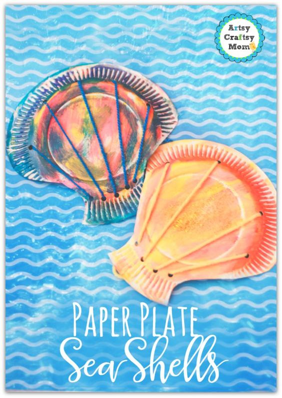Paper Plate seashell craft for toddlers - step by step tags - paper plate, toddler crafts. ocean study, clams,