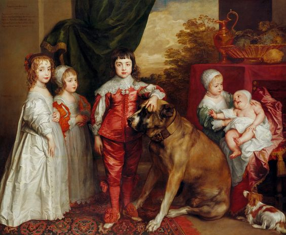 The Royal Collection: The Five Eldest Children of Charles I. The future Charles II center. Young boys would wear frocks until age 8.:
